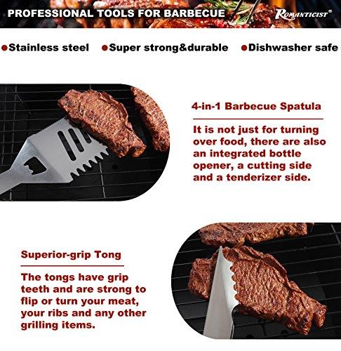 20pcs Utensili Barbecue in Acciaio Inox Set Barbecue - Heavy Duty Attrezzi per Barbecue griglia di Campeggio all'aperto Kit Accessori - Regalo di papà Ideale per Compleanno
