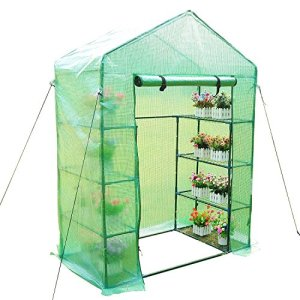 Outsunny Serra da giardino per piante con scaffali, (143x73x195cm) con tetto spiovente