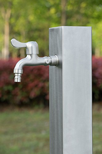 "Zelsius Colonnina d'acqua ""Nelson"", fontana in acciaio inox V2A spazzolato, 95cm, punto acqua da giardino WZS2"
