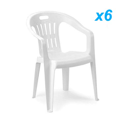 Tomaino Sedia Piona Offerta Set 6pz Bianco in plastica resinata impilabili Ideale per casa, Giardino, Bar, Campeggio