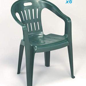 Tomaino Sedia Piona Offerta Set 6pz Verde in plastica resinata impilabili Ideale per casa, Giardino, Bar, Campeggio