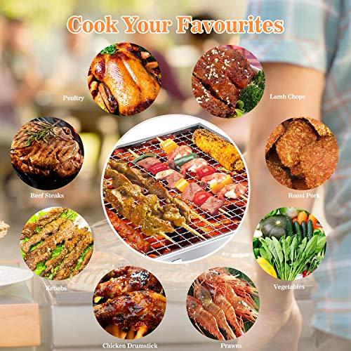Gifort Barbecue Carbone Portatile Barbecue Grill Pieghevole in Acciaio Inox per 35 Persone Include Utensile BBQ Barbecue Stuoia BBQ Clip e Pennello Olio per Picnic Campeggio Feste