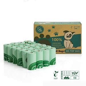 Green Maker 100 Biodegradabili Sacchetti di Cacca di Cane 360 Sacchetti Compostabili Sacchetti Cane Fatti da Amido di Mais con Certificazione Europea EN13432 e Home Compost Verde