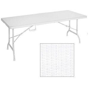 MaxxGarden  Tavolo da Giardino Pieghevole in plastica 180 x 75 x 74 cm Colore Bianco Effetto Rattan