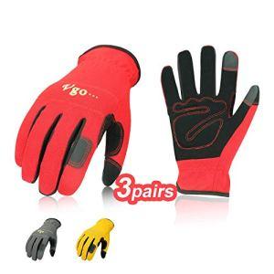 Vgo Glove Guanti 3 paia guanti da lavoro in pelle nabuk guanti da giardinaggio meccanico edile multifunzione 10XLRosso  Grigio  GialloNB7581