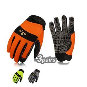 Vgo Guanti 3 paia guanti da lavoro uomo in pelle guanti da meccanico giardino multifunzione 8M Grigio  Arancio  Verde SL7895