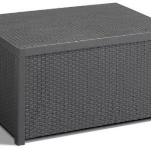 Allibert 220002 Monaco  Tavolino Loungecassapanca per Cuscini in plastica SimilVimini Colore Grigio