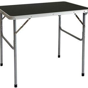 AMANKA Tavolino da PICnic 80x60x70cm Tavolo da Campeggio mercatino 3Kg in Acciaio Pieghevole Formato Valigia Grigio Scuro