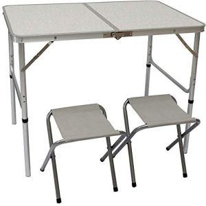 AMANKA Tavolino da PICnic incl 2 Sgabelli Tavolo da Campeggio 90x60x70cm Altezza Regolabile Pieghevole Formato Valigia Grigio Chiaro