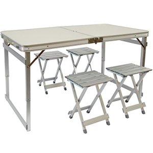 AMANKA Tavolino da PICnic incl 4 Sgabelli exta Stabile Tavolo da Campeggio 120x70x70cm Altezza Regolabile Pieghevole Formato Valigia Alluminio