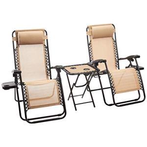 AmazonBasics  Sedie a sdraio Zero Gravity con tavolino set da 2 marrone chiaro