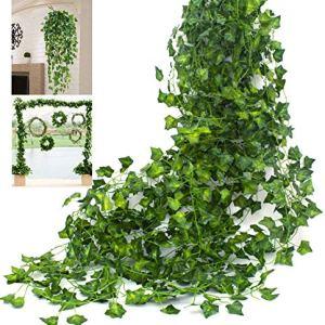 Amkun Ghirlande di finta edera rampicante decorativa di seta adatte per interni ed esterni confezione da 12 Green