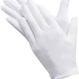 AYUQI 12 paia di guanti in cotone bianco guanti in tessuto bianco guanti in cotone di cura comodi e traspiranti per la cura della pelle esaminando gioielli lavoro quotidiano ecc