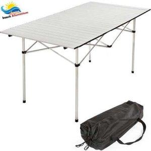 BAKAJI Tavolo Tavolino Camper Campeggio Picnic in Alluminio Pieghevole Top Arrotolabile Salvaspazio e Leggero Ideale per Sagre Fiere Giardino Casa 140 x 70 cm