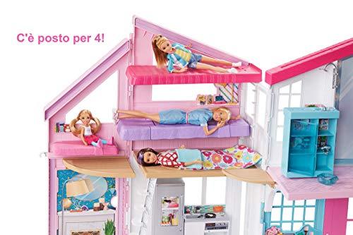 Barbie La Nuova Casa Di Malibu Playset Richiudibile Su Due Piani Con Accessori 61 Cm Giocattolo Per Bambini 3 Anni Fxg57 Arredamenti Per Il Giardino
