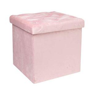 Bonlife cassapanca con contenitore portaoggetti con coperchio in tessuto poggiapiedi pieghevole in velluto Flanella Colore rosa Medium