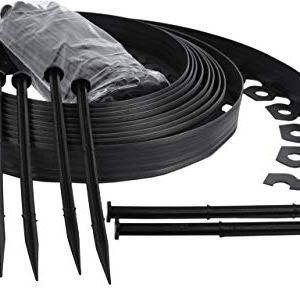 Bordo Flessibile da Giardino Bordo Flessibile per Il Giardino Bordo da Giardino in plastica 4cm di Altezza  Nero 10 Metri  30 Chiodi di Fissaggio