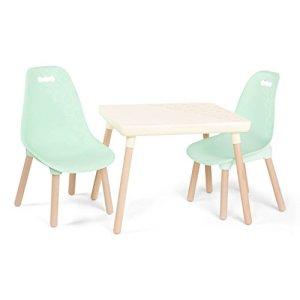 B spaces by Battat  Set tavolo e sedie per bambini con gambe in legno naturale avorio e menta