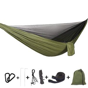 Bwiv Amaca da Campeggio Con Zanzariera Portatile Ultraleggero Amaca Outdoor Paracadute Nylon 290x140cm Portata massima 200 kg Per Escursionismo Backpacking Viaggi Verde