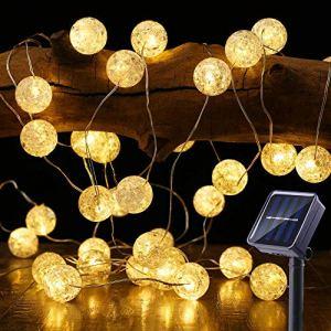 Catena Luminosa Esterno Solare BrizLabs 7M 50 LED Stringa Luci Solari Cristallo Globo Bianco Caldo IP65 Impermeabile 8 Modalit Illuminazione per Giardino Terrazza Natale Matrimonio Festa