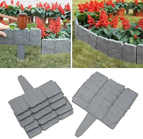 CDblue Bordi per Giardini Effetto Pietra in Plastica 20PCS 5M Bordi da Giardino Flessibile per Giardino Aiuola Erba 25x235cm Gris