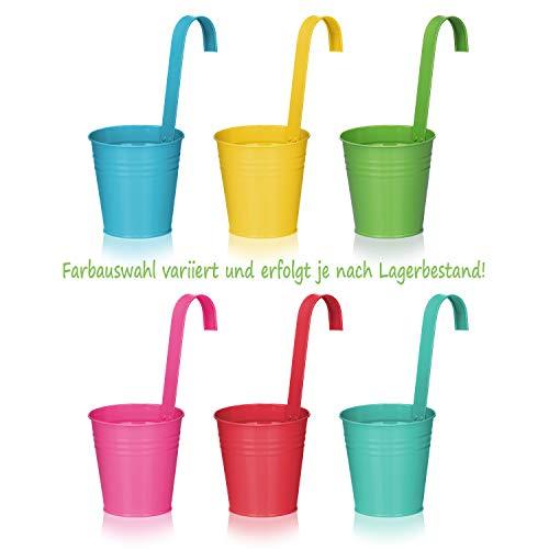COMFOUR 3x vaso di fiori da appendere per balcone  vaso sospeso con colori vivaci per piante ed erbe  vaso con gancio per giardino la selezione varia vaso di metallo  multicolore