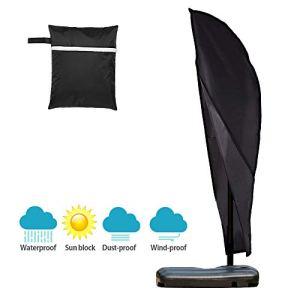 Copertura Impermeabile per ombrellone Extra Large a sbalzo 610D Antipolvere Protezione dai Raggi UV per Giardino Patio ombrellone con Cerniera e Borsa per Il Trasporto