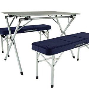 Crazy Sales set da tavolo pieghevole portatile in alluminio blu  tavolo da campeggio  tavolo da esterno  tutto in uno  tavolo  roulotte  tavolo da picnic  pranzo allaperto