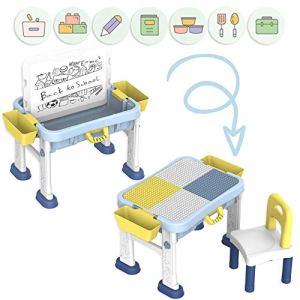 deAO Banco Didattico Portatile per Bambini Centro attivit 3in1 Tavolo Multiuso per lApprendimento e creativit dei Bambini Include Sedia Lavagna e Pannello per Giochi di Costruzione