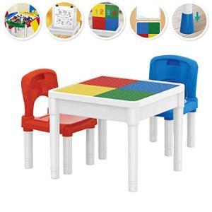 deAO Centro attivit 3in1 Tavolino Multiuso per lApprendimento e creativit dei Bambini Set Include 2 Sedie