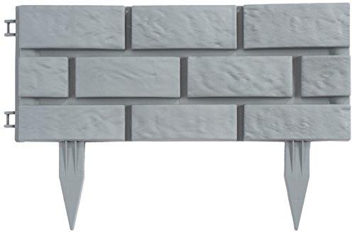 Greenhurst 4191 Bordi da Giardino in Plastica Effetto Mattoni 43 x 175 cm Grigio Heritage Grey 4 pezzi