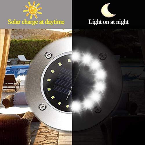Hotsilai Luci Solari Luci Giardino Esterno 16 LED Luce4 Pezzi IP65Lampada Solare da Giardino Faretti Terra Impermeabile Luci di terra per Esterno Cortile Vialetto Giardino Bordo Piscina
