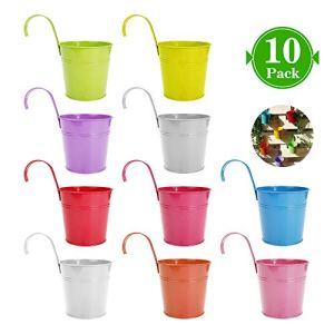 Kaufam Secchiello per Vaso in Metallo da 10 Pezzi Vaso da Appendere Decorazione Domestica per Balcone Gancio Rimovibile Assortimento in 10 Colori