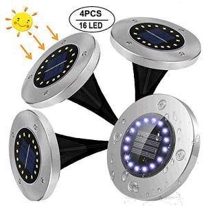 Luci Solari Giardino Afaneep 4pcs 16LED Luci Solari Esterno Giardino IP65 Impermeabile Luci Solari per Cortile Esterno Vialetto Giardino Bordo Piscina Bianco Freddo