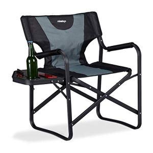 Relaxdays NeroGrigio Regista Sedia Pieghevole per Campeggio e Giardino Tavolino Porta Bevande alluminio