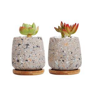 T4U Cemento Vasi Piante Grasse Calcestruzzo Piantatore Vaso Contenitore Scatola di Finestra Piccolo Vaso per Piante Fiore con Drenaggio Vassoio di bamb per Casa DecorazioneSet di 2Grigio