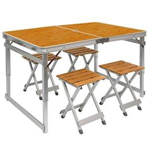 Tavolino da campeggio regolabile in altezza  Tavolo  4 Sgabelli  Pieghevole formato valigia facile da trasportare  in Legno di Bambu e Alluminio  ideale per picnic giardino spiaggia  ca 110x70cm