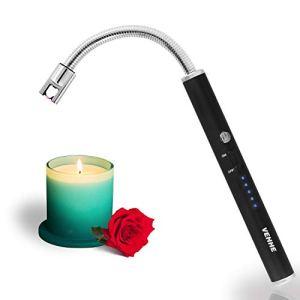 VEHHE Accendino ElettricoAccendigas USB RicaricabileAccendigas Elettrico Cucina Accendino Lungo per Candele leggere Stufe a gas Barbecue da campeggioCollo Lungo Girevole a 360