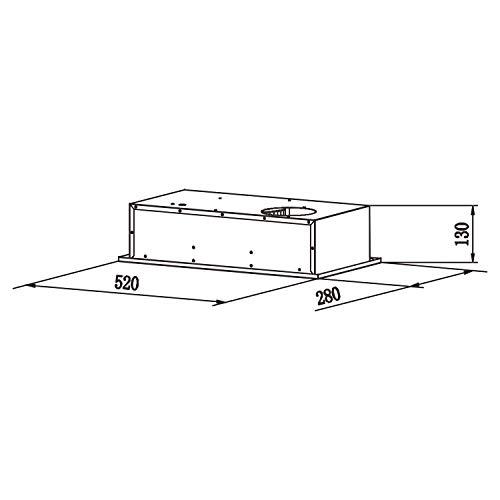 CIARRAcappa aspirante 52cm300m3h3 velocit di ventilazioneLuce a ledin acciaio inoxcappa integrataargento