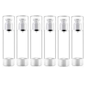 50ml Flacone Spray Vuoto Plastica Airless Pump Bottle Dispenser di Disinfezione Bottiglie da Viaggio Vuoti Profumo Atomizzatore Cosmetici Contenitore per Lozione Fondotinta Essenza 6pezzi