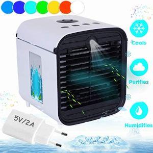 Air Portable Cooler  Condizionatore Portatile Silenzioso 3in1 Mini Raffrescatore Evaporativo Umidificatore Purificatore Daria USB Cooler per Casa Ufficio Camper Bianca
