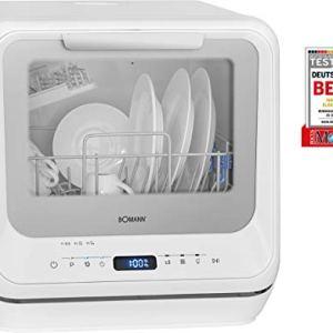Bomann TSG 7402Mini lavastoviglie Utilizzabile con e Senza Collegamento 5 programmi Serbatoio dellAcqua da 5 l e Illuminazione Interna Bianco ca H x B x T 435 x 420 x 435 cm