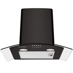 CIARRA CBCB6506B Cappa Aspirante 60 cm Cappa Cucina per 550 mh 3 gradini Vetro LED ScaricoAria Ricircolata Filtro in Alluminio Tubo di ScaricoFiltro per CBCF004 Nero