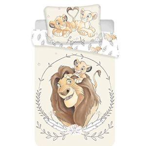 Disney Il Re Leone Simba e Mufasa set di biancheria per lettino copripiumino e federa 100 cotone 100 x 135 cm