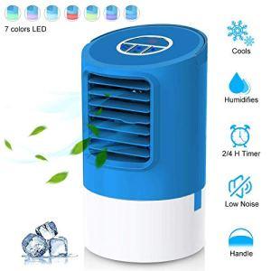 EEIEER Climatizzatore Portatile Raffreddatore Daria Evaporativo Mini Condizionatore con 3 Velocit 24H Timer 7 LED Colori