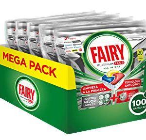 Fairy Platinum Plus Limone 100 Pastiglie per Lavastoviglie Maxi Formato da 100 Caps di Detersivo
