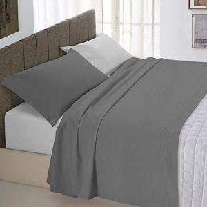 Italian Bed Linen Natural Color Completo Letto Double Face 100 Cotone Grigio ChiaroFumo Matrimoniale