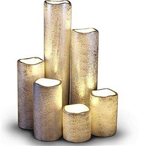 LED Lytes senza fiamma timer led slim candele set di 6 2 di larghezza e 2  9 alto argento rivestito di cera e flickering flame warm Bianco per la casa e larredamento di nozze