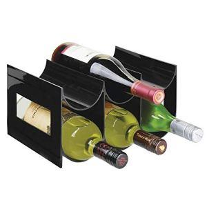 mDesign Pratico scaffale per bottiglie di vino  Portabottiglie in plastica senza BPA per 6 bottiglie  Organizer in plastica autoportante per ogni tipo di bottiglia  nero