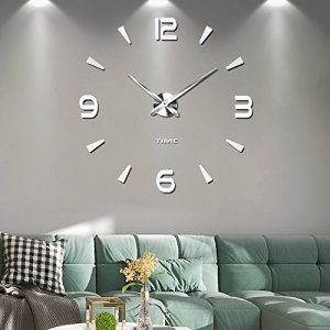 Mintime Orologio Da Parete Grande 3D DIY Frameless Mute Specchio Adesivi Home Office Scuola Decorazione Argento73